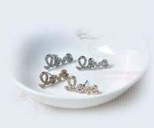 Fashion Alloy Silver or Gold Plated Full Rhinestone LOVE Letter Stud Earrings