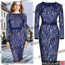 Ladies Lace Floral Vintage Long Sleeve Bodycon Cocktail Party Evening Dresses
