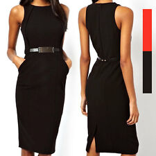 New Fashion Women Lady's Bodycon Skirt Cocktail Pencil Dress With Belt Black Red