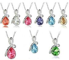 Eternal Love Teardrop Swarovski Elements Crystal Pendant Necklace
