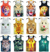 Men's Summer fashion sexy Animal 3D sport Sleeveless vest clothes size M-XXL AT7