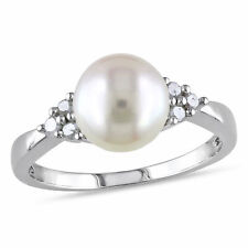 Sterling Silver 1/8 Ct Diamond TW 8-8.5 MM White Freshwater Pearl Ring H-I I2-I3