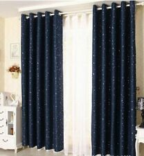 QUALITY BLOCKOUT EYELET CURTAINS CASTLE Dark Blue