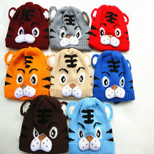 Hot Tiger Pattern Newborn Baby Kid Animal Beanie Knitting Crochet Hat Warm Cap