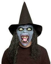 Fancy Dress Mask Screaming Witch Demon with Hat and Wig Halloween Scary Posessed