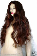 Remy Full Lace Wig Wigs Thin Skin PU Indian Remi #2/30 Body Wave Wavy Hand Tied