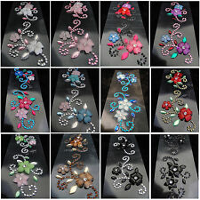 Flower Rhinestone Self Adhesive Crystal Stickers Diamantes Gems Bling Stick on