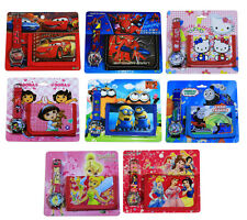 NEW KIDS TRIFOLD WALLET + WATCH DORA SPIDERMAN DISNEY CARS TINKERBELL MINION TOY