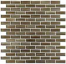 Creeks Edge Brown and White Hand Painted Glass Mosaic Subway Tiles - Backsplash