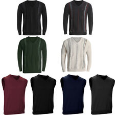 New Mens V Neck Jumper Long Sleeve Knitted Top Soft New Pullover Sweater Stripe