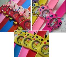 Kids Silicone Snap/Slap on WATCH Pikachu/ Peppa/ Butterfly/ Mickey Wrist Watches