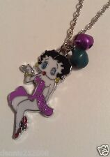1 x Betty Boop with mini bells necklaces Lilac,Redpendant  H13 - H14