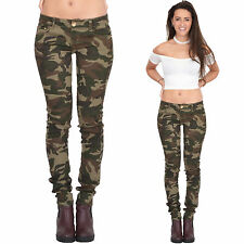Womens Army Military Green Camouflage Skinny Slim Stretch Jeans Pants Trousers