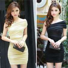 Women Short Sleeve Slim Fold Evening Cocktail Party Mini Sexy Dress Excellent