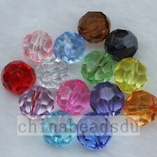 30Pcs 14MM 32 Faceted Clear Acrylic Round Spacer Bead Loose Beads Charms