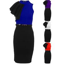 Women's Ruffle Frill Shoulder Ladies Turtle Neck Belted Bodycon Party Dress