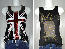 Pailletten Tank TOP 34 36 38 England Flagge NIETEN  Strass Fashionbox Clubwear