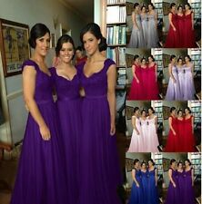 Long Chiffon Wedding Evening Formal Party Ball Gown Prom Bridesmaid Dress 6-18