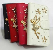 3D Diamond Crystal Angel Flip Leather Card Wallet Cover Case for Motorola Phones