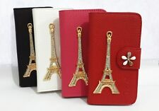 Bling Diamond Crystal Tower Flip Leather wallet cover case For HTC Cell Phones