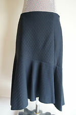 BN MARKS & SPENCERS PER UNA navy blue embossed flippy midi skirt 10-18 smart