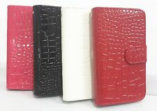 Luxury Crocodile Grain Flip Leather Card Wallet Pouch Case Cover for SONY Phones