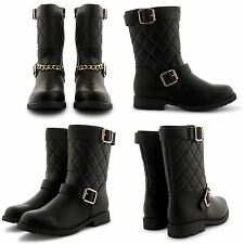 NEW LADIES CASUAL COMFY FLAT LOW HEEL RIDING BIKER BUCKLE ANKLE BOOTS UK SIZE