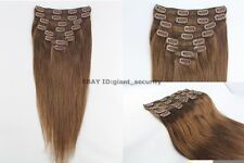 #6 Medium Brown Full Head Clip in 100% Remy STW Human Hair Extensions C06