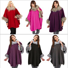 Womens Cape Boutique Ladies New One Size Faux Fur Trim Shawl Wrap Poncho Coat