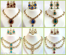 Ethnic Indian Kundan Gold Necklace Earrings Set Wedding Fashion Jewelry 5 Colors
