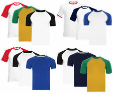 Mens Fruit of the Loom Baseball & Ringer Cotton T Shirt Top Casual Pack of 3