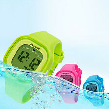 Waterproof Ladies Girls Sports Watches LED Digital Square Silicone Wristwatches