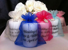 Personalised Candle Favours,Silver Butterfly, Wedding, Christening, Birthday