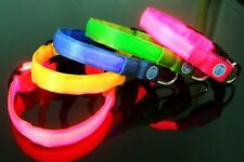 Flashing night LED necklace puppy dogs size S M L XL XS double faced collar belt