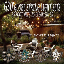 25 Foot G30 Outdoor Globe Patio String Lights - Set of 25 G30 Clear Bulbs