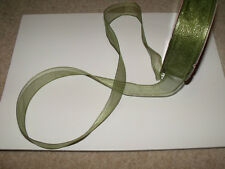Olive Green /Dk Lime Glitter Sheer Organza Christmas - Luxury Wire Edged Ribbon