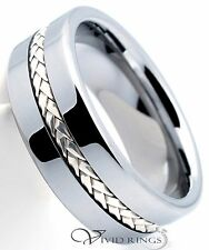 Men's Tungsten Carbide Wedding Band 925 Silver Inlay Ring 8mm Size 7.5 to 14.5