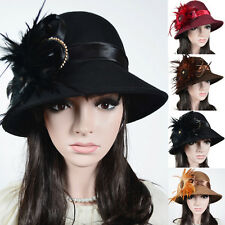 Women 100% Wool Cloche Hat Church Dress Feathers Wedding Formal Winter Hat