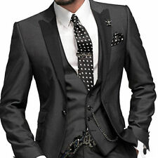 CUSTOM MADE TO MEASURE Charcoal grey MEN SUITS,Black trims for vest,GROOM TUXEDO