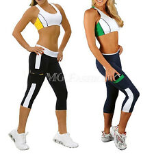 Women High Waist Tights Capri Running yoga Sport Pants Cropped  Fitness