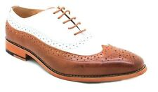 La Milano  Leather Mens Dress Shoes Tan and White Oxfords Wing Tip Style #A1721