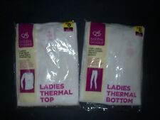 WOMANS THERMAL UNDERWEAR SET BY BOBBIE BROOKS TOP & BOTTOM  LARGE White