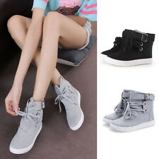 Womens Casual Buckle Strap Lace Up High Top Sneakers Flats Athletic Sports Shoes