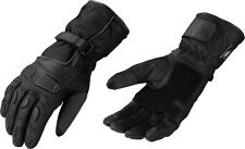 Men's Leather & Textile Waterproof Motorcycle Gauntlet Glove w/ Wrist Strap