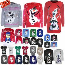 Womens Ladies Novelty Rudolf Olaf Frozen Knit Christmas Sweater Jumper Plus Size