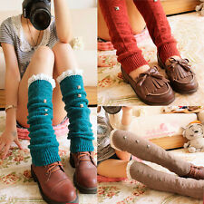Cotton Leg Warmers Crochet Knit Lace Trim Boot Socks Knee High Stockings Women