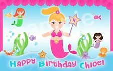 MERMAID PARTY Edible Cake Image Frosting Sheet Topper PERSONALIZED Hair Options!