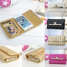 Bling Bow Credit Card Holder Wallet Leather Cover Case For iphone 4 4S 4G 5 5S