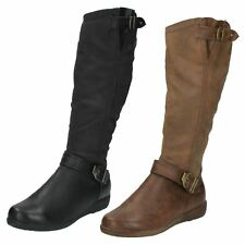 Ladies F50330 Black and Brown boots by spot on Sale Was 39.99 Now £29.99