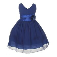 Wholesale Royal Blue Chiffon Double V Neck Wedding Flower Girl Dress Made in USA